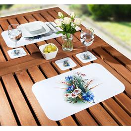 Set de table et sous-verre, bleuets