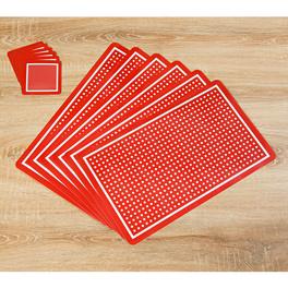 Sets de table/dessous de verre 12pièces, Pois rouge-blanc