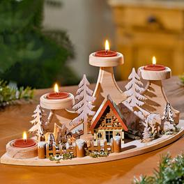 Support en bois pour bougies chauffe-plats