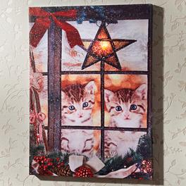 Tableau à LED Chatons de Noël
