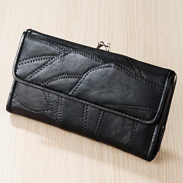 Portefeuille style patchwork, noir
