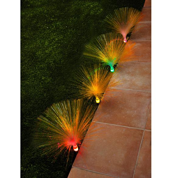 Lot de 4éclairages de jardin fibres optiques