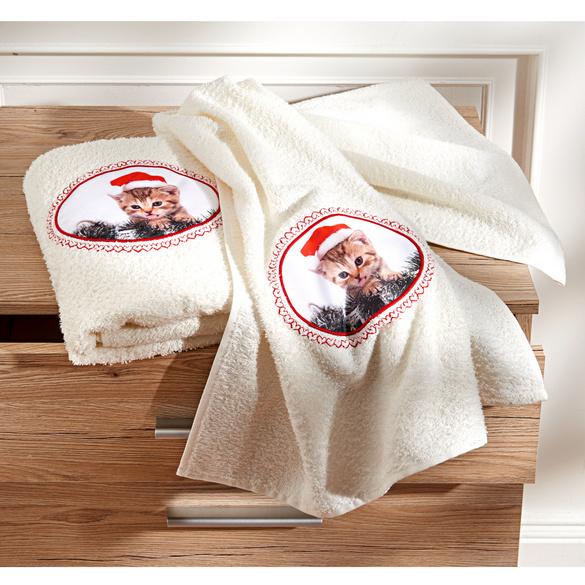 Drap de bain – Chaton de Noël