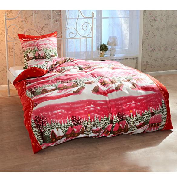 parure de lit village hivernal rouge vitrine magique. Black Bedroom Furniture Sets. Home Design Ideas