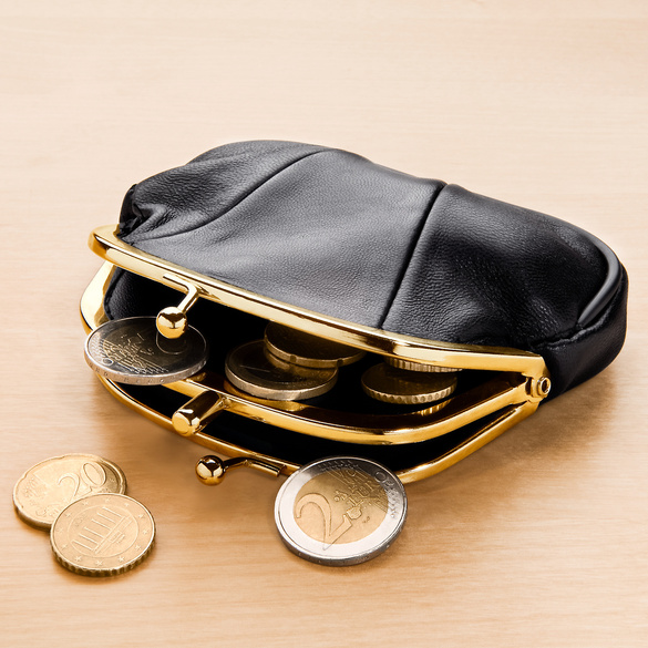 Porte-monnaie en cuir, noir
