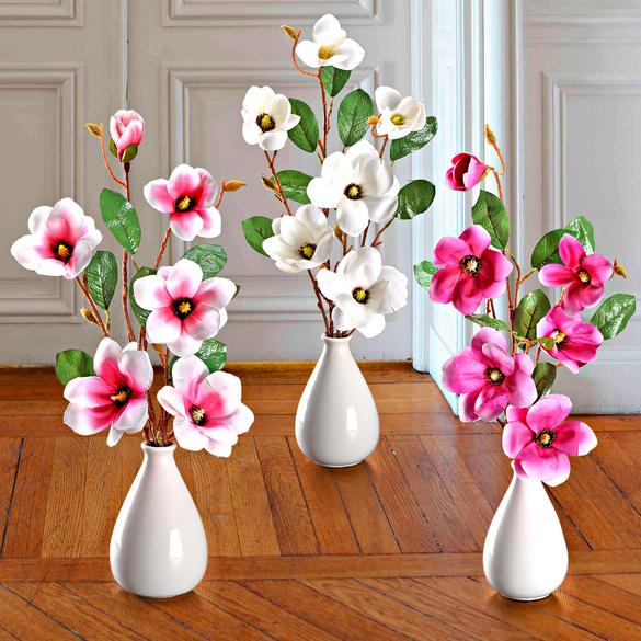 Lot de 2 branches de magnolia, rose vif