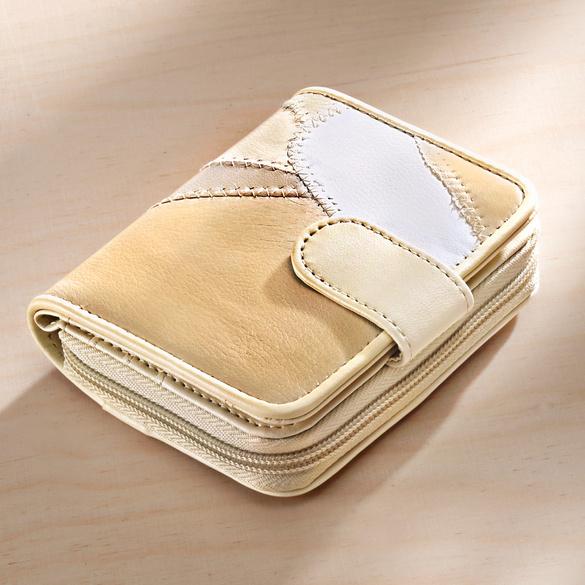 Porte-monnaie patchwork, beige