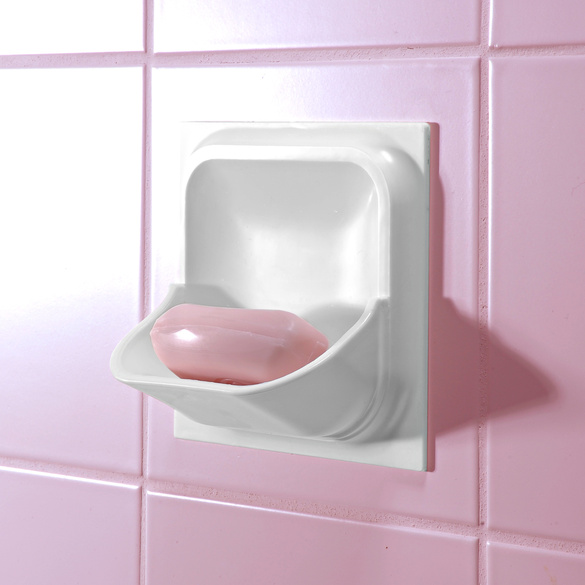Porte savon sp cial carrelage mural blanc vitrine magique - Porte savon mural carrelage ...