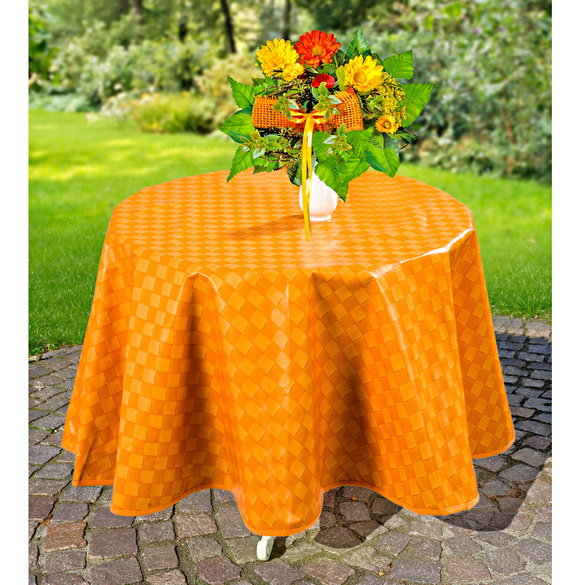 Nappe carreaux ronde cm orange with table ronde magique - Table ronde magique ...