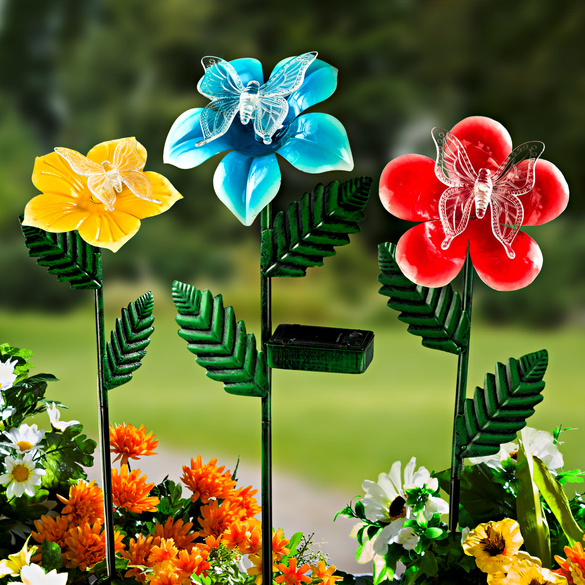 Lot de 3 fleurs solaires