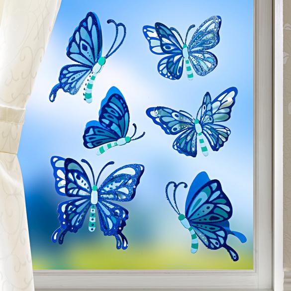 Décoration de fenêtre Papillons, bleu