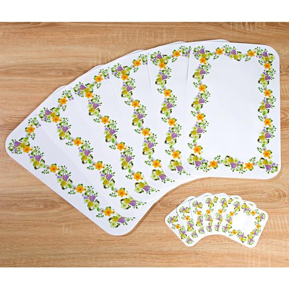Sets de table et dessous-de-verre Fleurs, 12 pièces