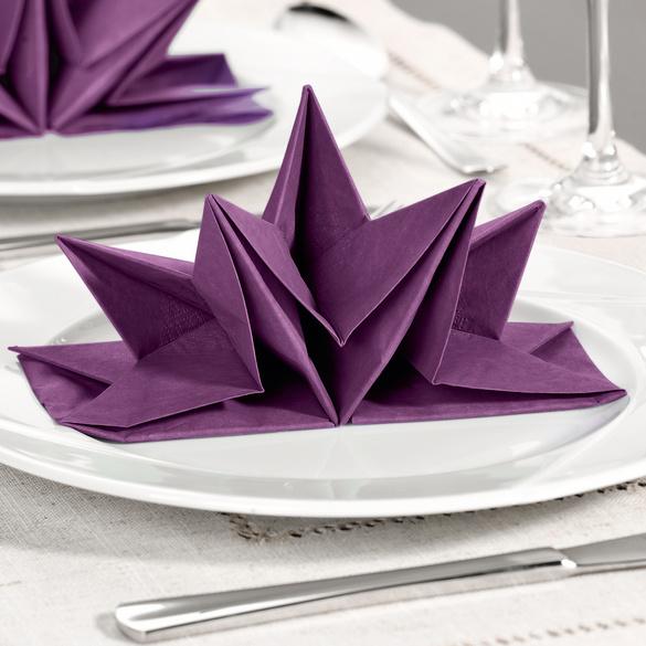 Lot de 12 serviettes, violet