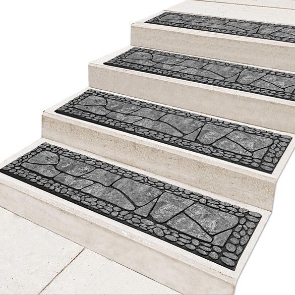 Lot de 2 tapis pour marches, gris