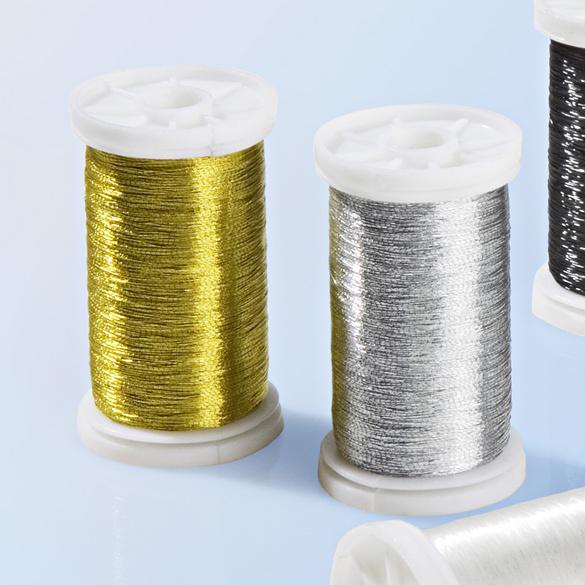 Lot de 2 bobines de fil à coudre, coloris or/argent