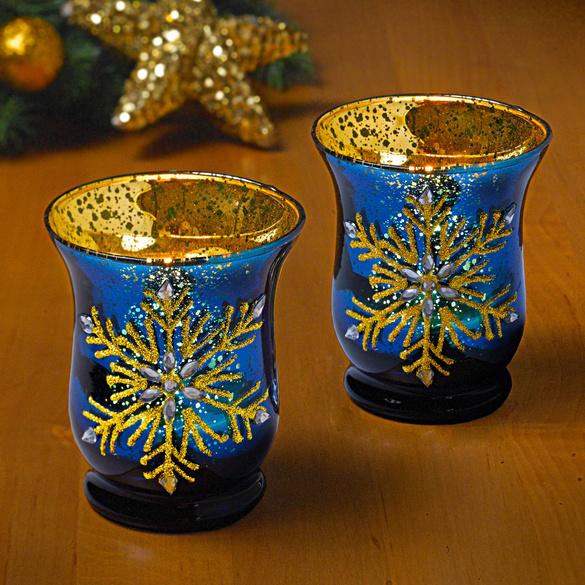 Support de bougie chauffe-plat, bleu or