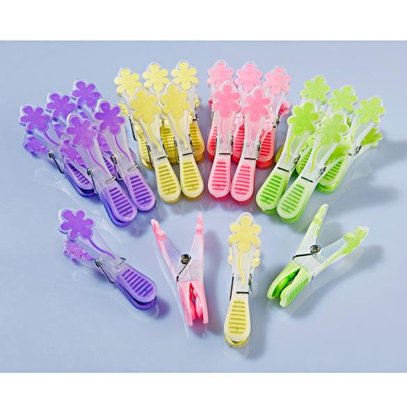 Lot de 24 pinces à linge antitraces Fleur