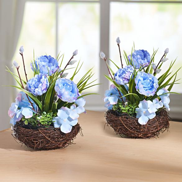 Composition florale, bleu