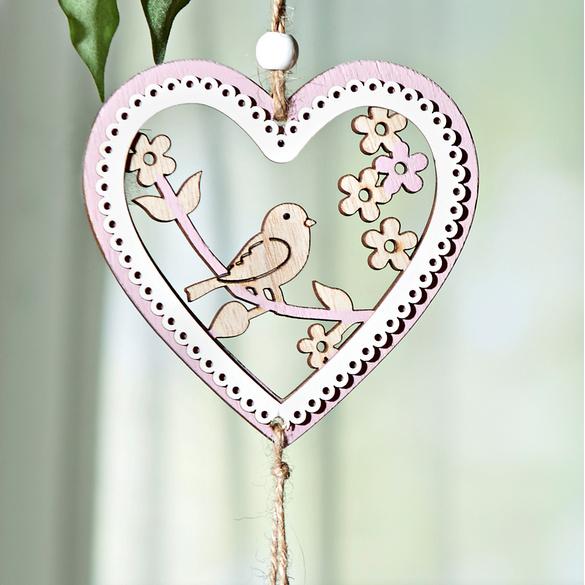 Suspension Cœur avec oiseau