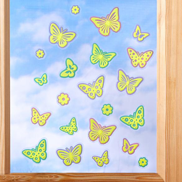 Décoration de fenêtre Papillons, jaune-vert