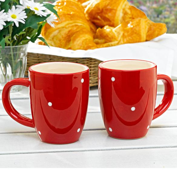 """Mug """"Pois"""", rouge-blanc"""