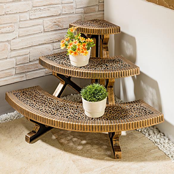 Escalier d'angle pour plantes, aspect bronze