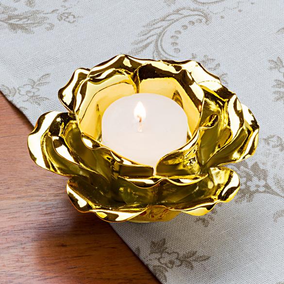 Porte-bougie « Fleur », coloris doré