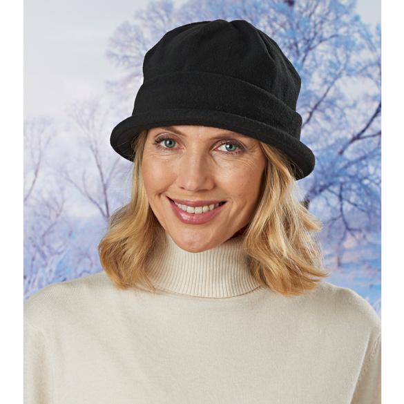 Chapeau en maille polaire, noir