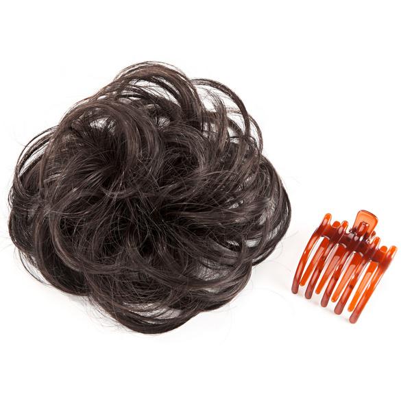 Bandeau de cheveux avec clip, châtain foncé