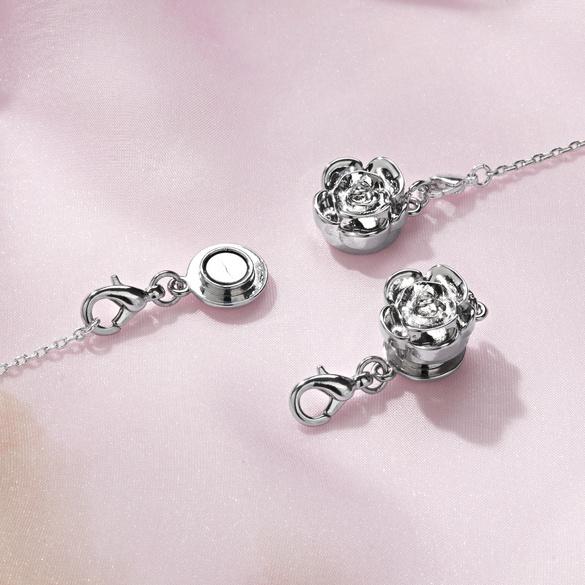 Lot de 2 fermoirs aimantés  Rose, coloris argenté