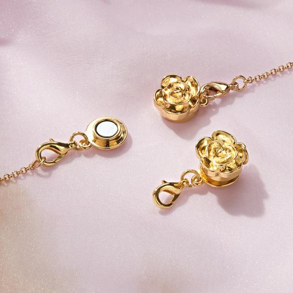 Lot de 2 fermoirs aimantés  Rose, coloris doré