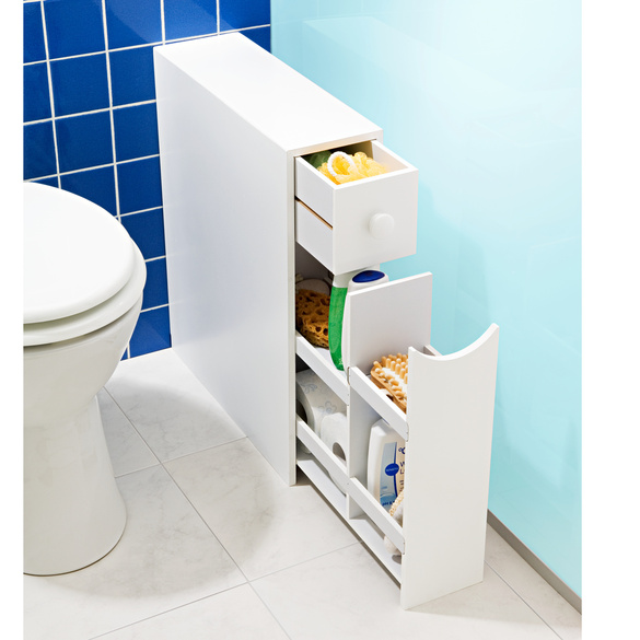 Rangement de salle de bains, blanc