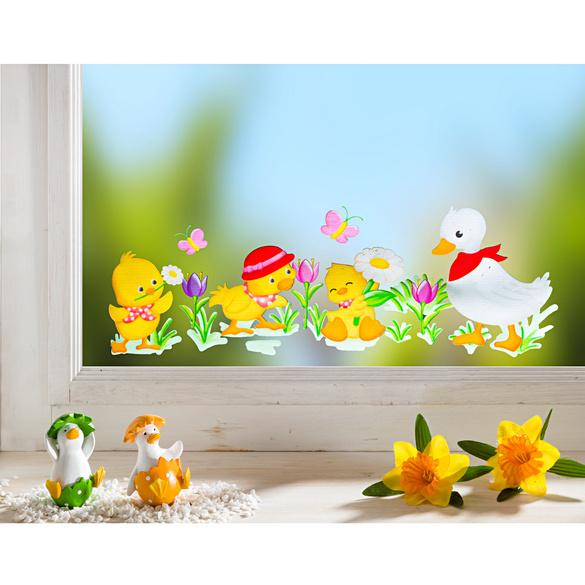 Sticker pour fenêtre Canetons et crocus