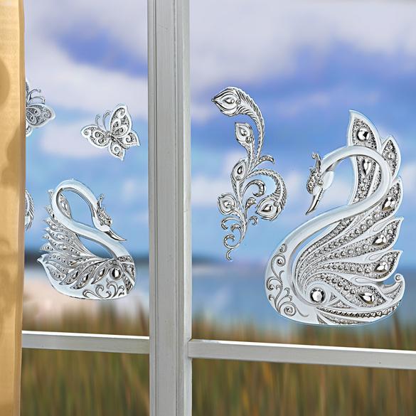 Lot de 4décorations de fenêtre Cygnes