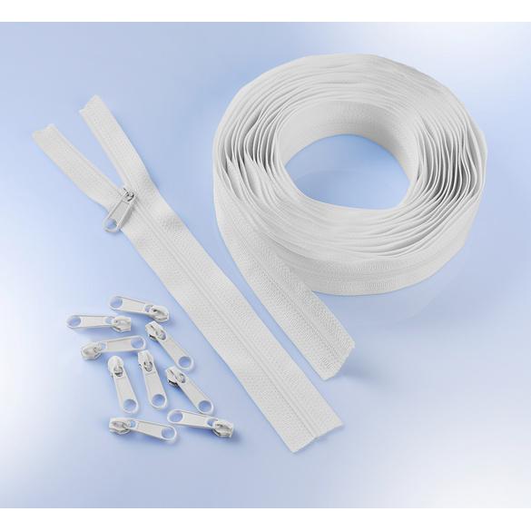 Fermeture à glissière 6m + 25curseurs, blanc