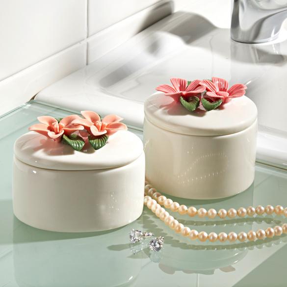 Boîte à bijoux Fleurs, rose