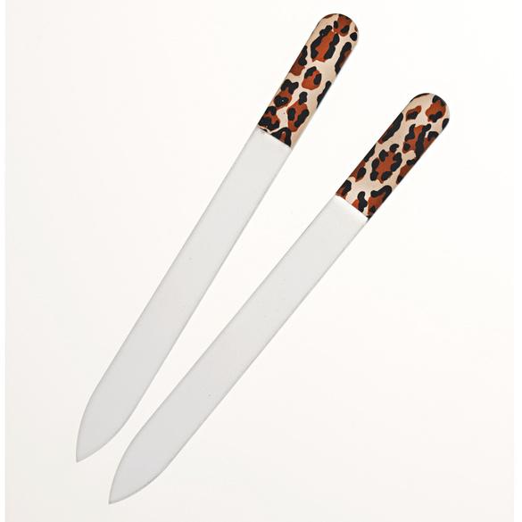 Lot de 2limes à ongles en verre, léopard