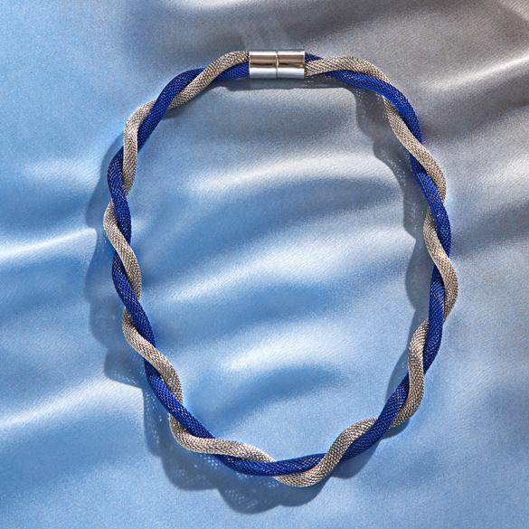 Collier, bleu/argenté