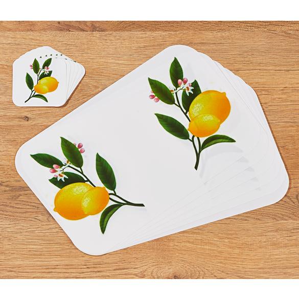 Sets de table + dessous de verre Citron, 12pièces