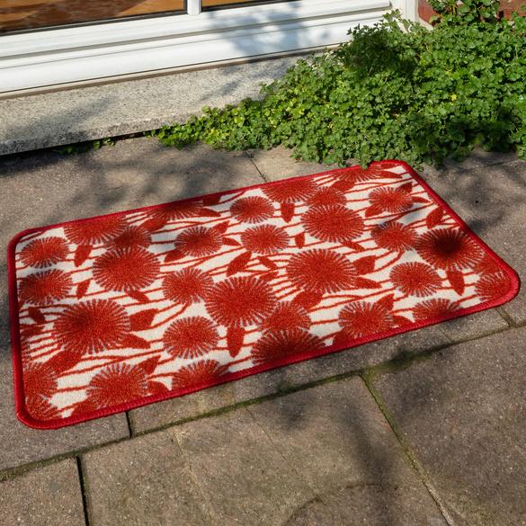 Tapis décor floral 40x60, rouge