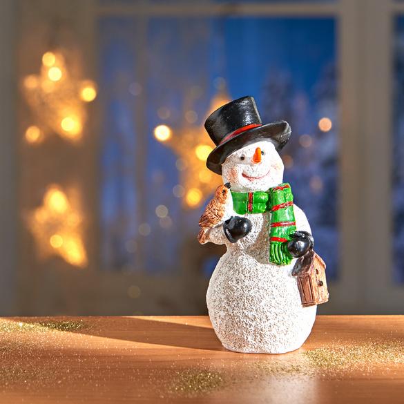 Bonhomme de neige avec oiseau