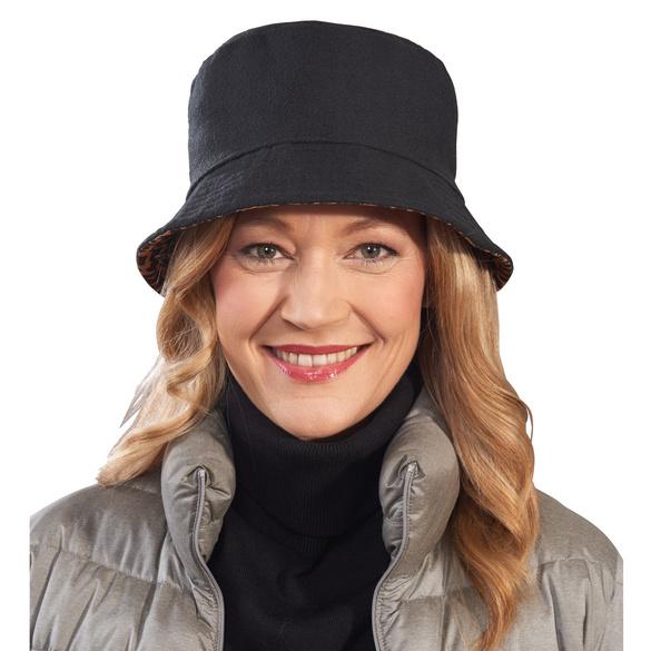 Chapeau réversible Léopard/noir