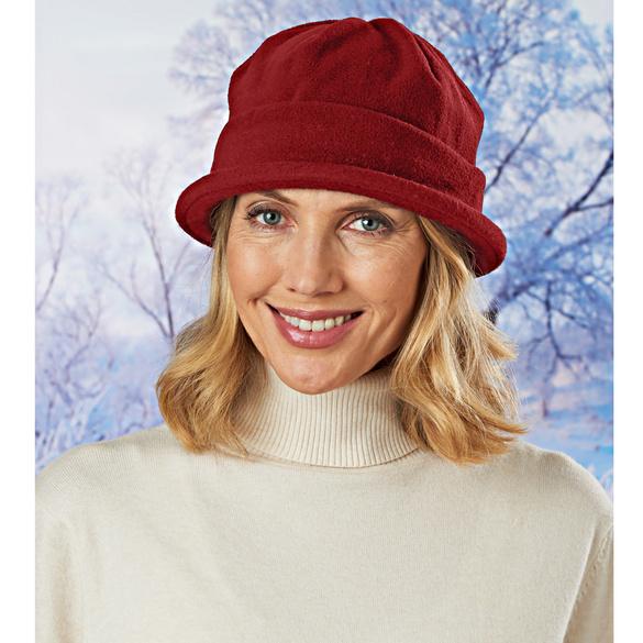 Chapeau en maille polaire, bordeaux
