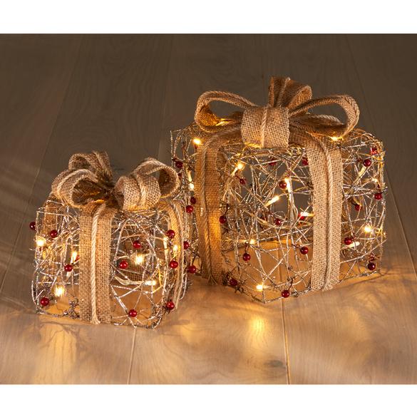 Boîtes cadeau à LED, coloris doré/rouge