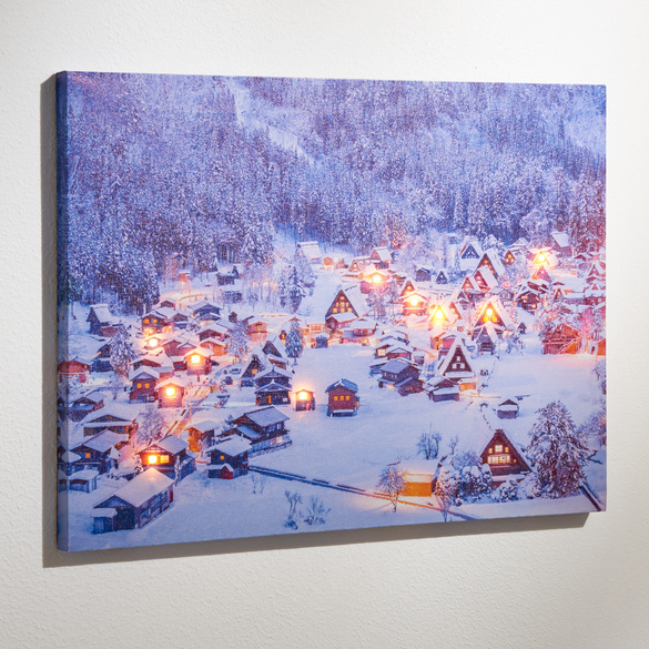 Tableau LED Village en hiver