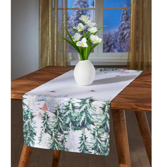 Chemin de table Forêt d'hiver, blanc