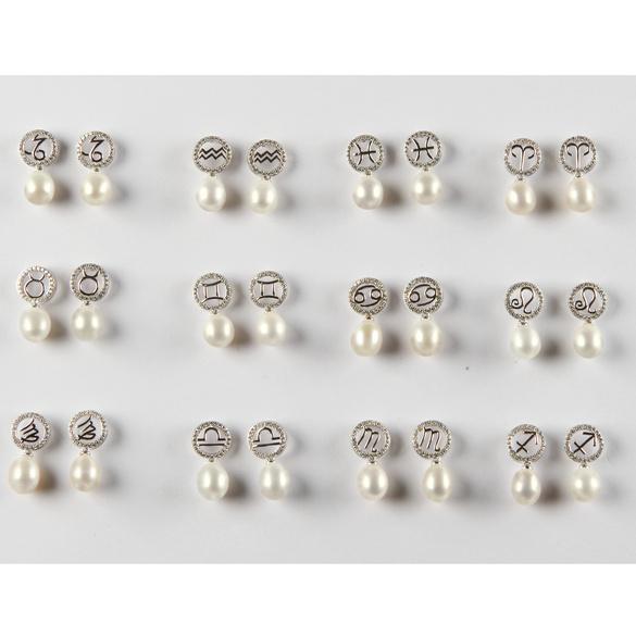 """Boucles d'oreilles """"Cancer"""" avec perle"""