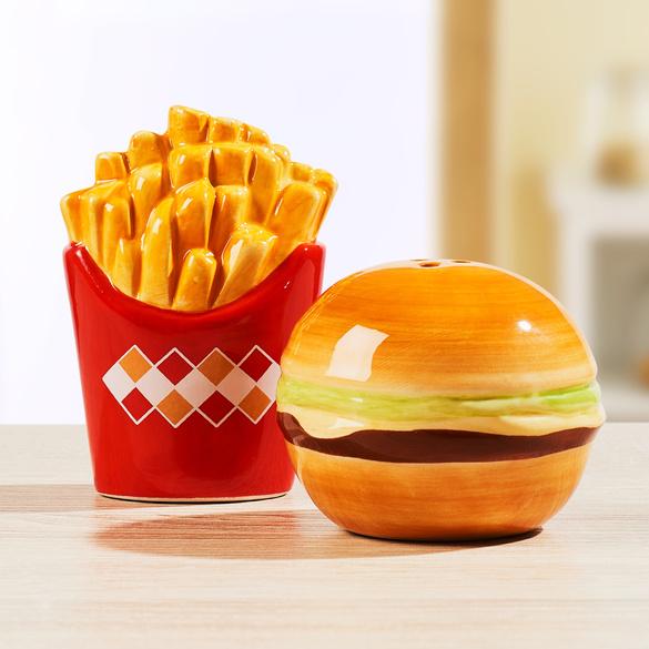 Salière + poivrière Frites et hamburger