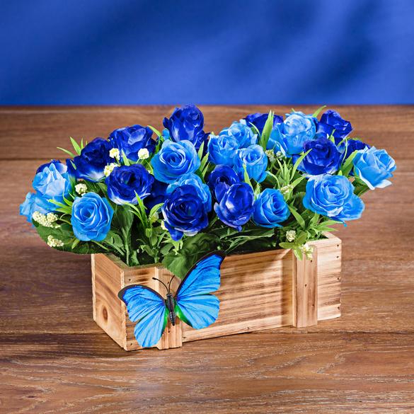 Boîte en bois Fleurs bleues