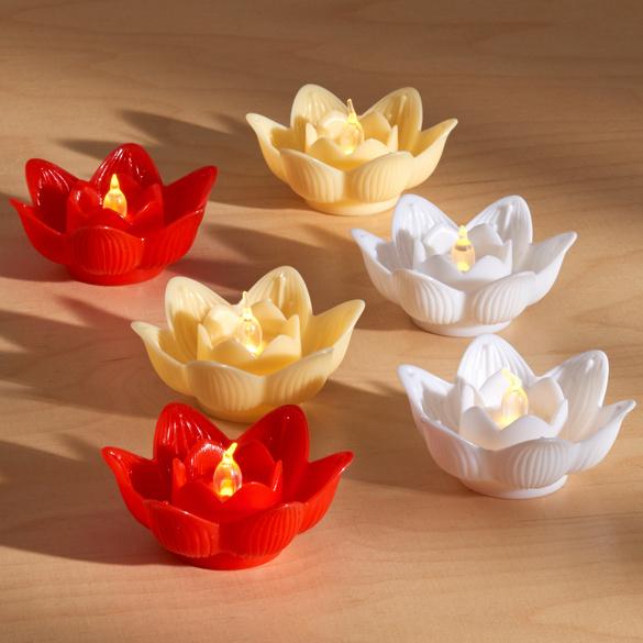 Bougies à LED Lotus, rouge